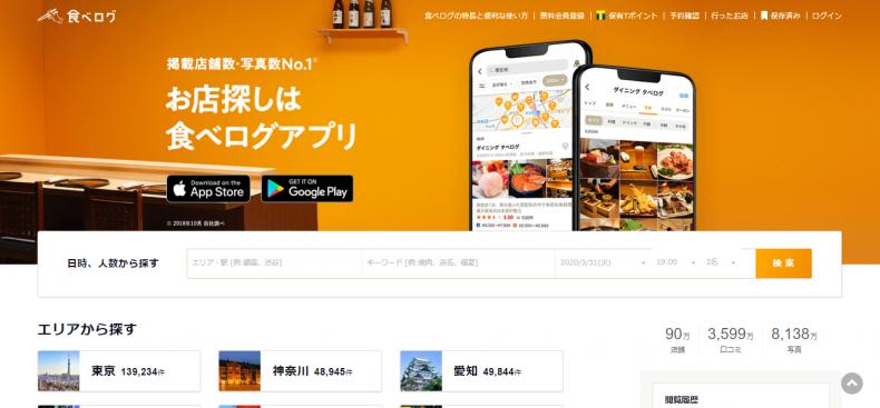 食べログ検索画面
