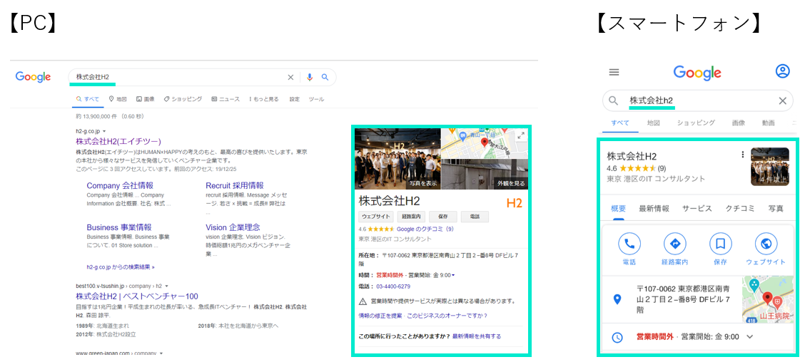 Googleマイビジネスの表示